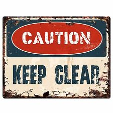 PP0644 CAUTION Keep Clear Plate Rustic Chic Sign Home Room Store Decor Gift