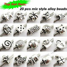 40pcs Hotsell New Silver Wholesale Mixed Charms Beads Fit European Bracelets L