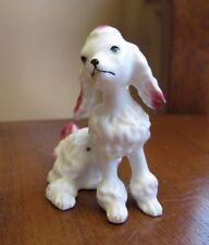 Vintage Bone China Miniature PINK Poodle Dog Figurine Gloss Finish Howe Cavern
