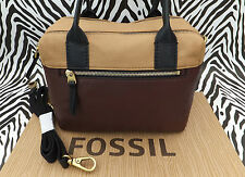 Genuine FOSSIL Handbag ERIN SATCHEL Brown Leather Carry Shoulder Bag BNWT RP£169