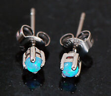 Pair Tiny 3mm Blue Fire Opal 316L Surgical Steel Earrings Ear Studs 20G