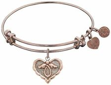 ANGELICA Adjustable Pink Finish Brass Angel Bangle Bracelet
