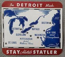 Vintage Americana,  Statler Hotels Luggage Label,  Detroit, Unused.