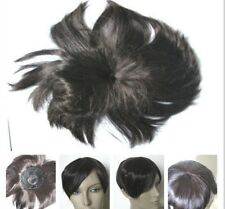 dark brown clip in fringe bangs hide bald grey patch hairpiece extension toupee