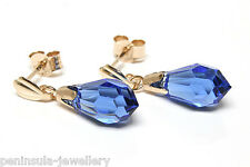 9ct Gold Blue Swarovski Crystal elements Drop earrings Boxed Made in UK