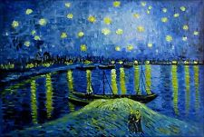 Van Gogh Starry Night over Rhone Repro Quality Hand Painted Oil Painting 24x36in