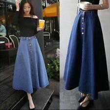 Women A-line High Waist Long Midi Denim Jeans Buttons Vintage Skater Skirts Blue