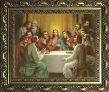 THE LAST SUPPER JESUS AND DISCIPLES FRAMED PICTURE GOLD DECORATIVE MOULDED FRAME