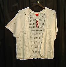 OFF-WHITE STUDDED OPEN FRONT/WEAVE KNIT CARDIGAN JACKET SWEATER SHRUG TOP~3X~NEW