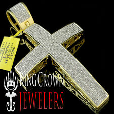 Large Real Genuine Diamond Cross Pendant Charm In 10K Yellow Gold Finish 3.5''