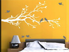 "78""x37"" Tree Branch in WHITE with 10 birds in GRAY Wall Decal Art Sticker Mural"