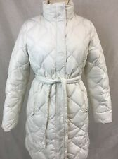 Eddie Bauer Long Cream Goose Down Quilted Puffer Winter Coat Jacket 700 Fill S