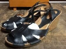 CLARKS ARTISAN WOMEN'S BLACK LEATHER CORK WEDGE SANDALS SHOES SIZE 8M