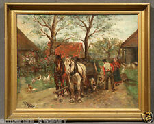 Signed Oil Painting Boston Farm Horses and Wagon, Circa 1920