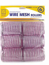 "DONNA 1-3/4"" JUMBO WIRE MESH HAIR ROLLERS - 6 PCS. (7895)"
