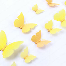 12x 3D Wall Stickers Butterfly Removable Mural Art Decal Home Decor Yellow