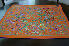 New Gucci Authentic Women's Flora Flowers Orange Multicolor Silk Scarf