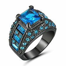 Vintage Princess Cut Blue Aquamarine Wedding Ring 10KT Black Gold Filled Size 9