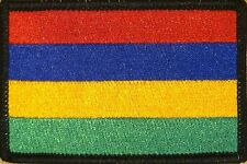 MAURITIUS Flag Military Patch With VELCRO® Brand Fastener BLACK Border