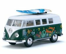 "KINSMART 1:32 1962 VOLKSWAGEN CLASSICAL BUS WITH SURFBOARD AND DECALS ""Green"""