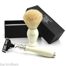 WHITE Badger Hair Brush in IVORY COLOUR KNOT MACH 3 RAZOR in IVORY COLOUR GIFT