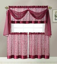 4 Piece Embroidered Linen Leaf With Scarf Kitchen Curtain Set Color: Burgundy