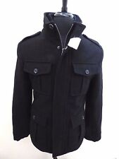 New Men's Merona 4 pocket Military style Black Wool Blend Coat Men's sz. Small S