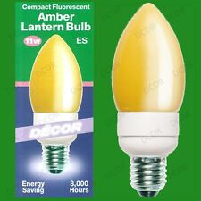 4x 11W Amber Large Candle Low Energy CFL Decor Lantern Light Bulbs, ES E27 Lamps