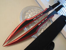 "Double Secret Agent Red Titanium Twin Combat Sword Knife Machete Set 27"" 741RD"