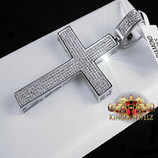 REAL GENUINE DIAMOND MENS WOMENS WHITE GOLD G/P CROSS PENDENT CHARM 2.75 INCH
