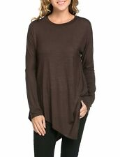 USA Women Long Sleeve Asymmetrical Hem Tunic Top Solid Round Neck Loose Shirt
