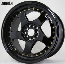 17X9 +35 Aodhan Ah01 5X114.3 Black Wheel Fits Sentra 240Sx Scion Tc Xb CIVIC SI