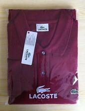 LACOSTE LONG SLEEVE CLASSIC L1312 - SMALL T3 - WINE RED - BNWT - RRP £89