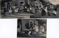 3 CPA.AU PAYS DU SEL,Baptême,noce Batz danse Paludier,costumes bretons daté 1906