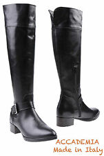 NEW ACCADEMIA HANDMADE IN ITALY BLACK KNEE-HIGH CALFSKIN BOOTS. SZ 38/7.5M
