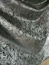 "1Mnew  black   SILVER COLOUR PAISLEY METALLIC BROCADE /JACQUARD FABRIC 58"" WIDE"