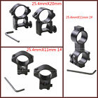 Rifle Pistol Airsoft Scope Sight High Ring Mounts 25.4mm Diameter Weaver Rail UK
