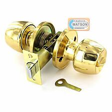 Polished Brass PRIVACY KNOB SET Bathroom Locking Door Handle Latch Fixings.
