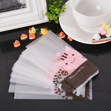 50pcs Christmas Bag Pink Cat Cellophane Gift Cookie Fudge Candy Self Adhesive