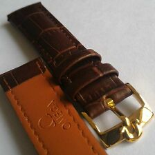 Omega 18mm 18-16 brown leather bracelet watch band w Omega Gold Plated buckle