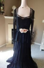 Stunning Vintage 1940s Black Lace Gown w Pink Silk Flowers Apx Size 8