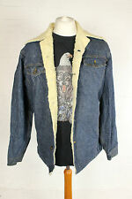 VINTAGE Sherpa Giacca Di Jeans Blu Foderato in Pile 70s 90s Mens Medium