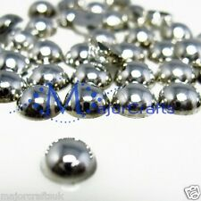 720pcs Metallic Silver 5mm Flat Back Half Round Resin Pearls Scrapbook Gems