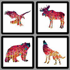 BEAUTIFUL NORTH AMERICAN WILDLIFE ILLUSTRATION 4 PIECE WALL ART SET CONTEMPORARY
