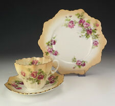 Antique Paragon China - Rose Decorated Cup Saucer & Tea Plate Trio - Nice!