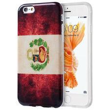 for iPhone 6 / 6S - Vintage Peru Flag Hard TPU Rubber Slim Fit Skin Case Cover