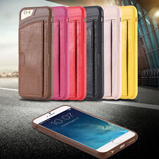 Slim soft flexible leather card insert case for Iphone 6 4.7 inch cover