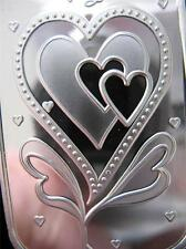 1-OZ PURE SILVER.999 BEAUTIFUL ART BAR 3 HEARTS WITH LOVE VALENTINE'S GIFT+GOLD