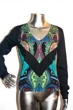 Womand ETRO Black Silk V Neck Sweater Size 42