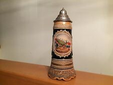 "German Musical Beer Stein 11"" tall Pewter Lidded Mug Western Germany"